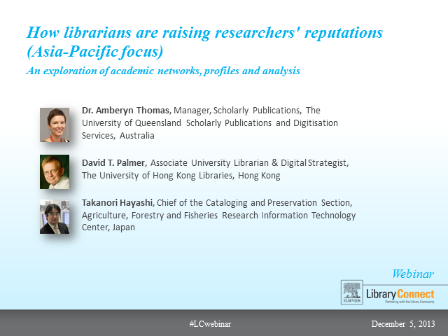 How libraries are raising researchers' reputations (Asia Pacific focus)