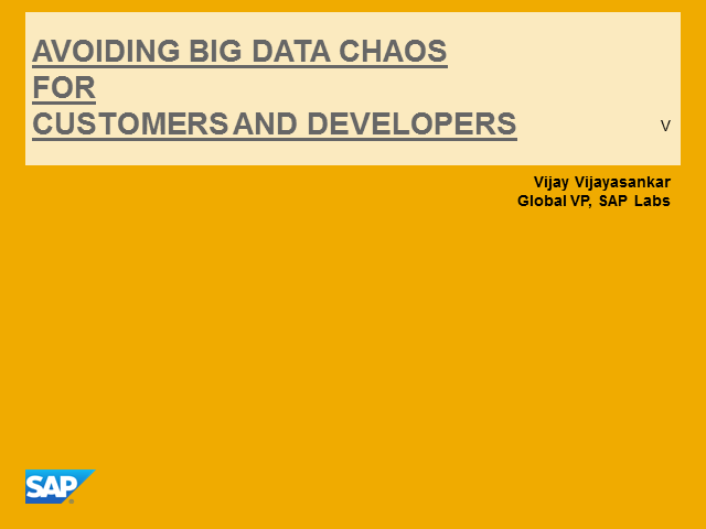 Big Data -  Avoiding Big Data Chaos For Customers And Developers