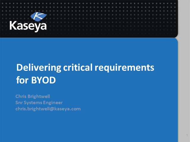Delivering critical requirements for BYOD
