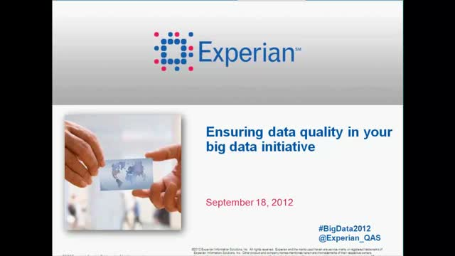 Ensuring data quality in your big data initiative