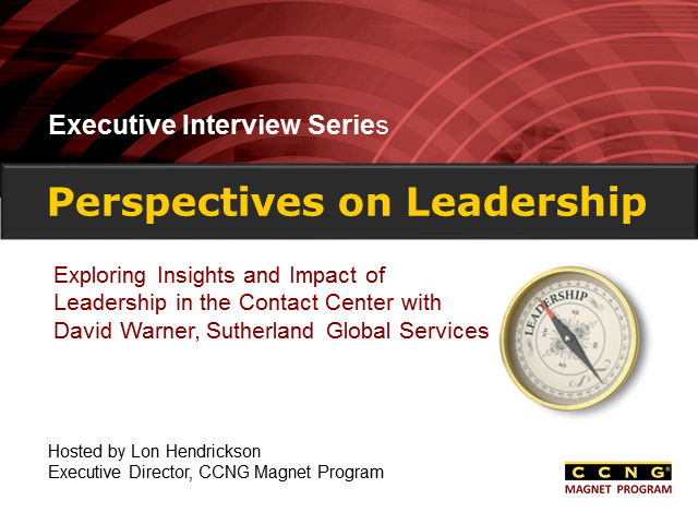 Perspectives on Leadership with David Warner, Sutherland Global Services