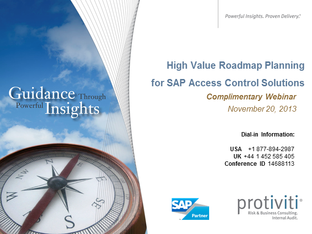 High Value Roadmap Planning for SAP Access Control Solutions