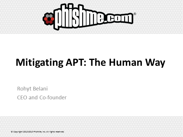 Mitigating APT: The Human Way