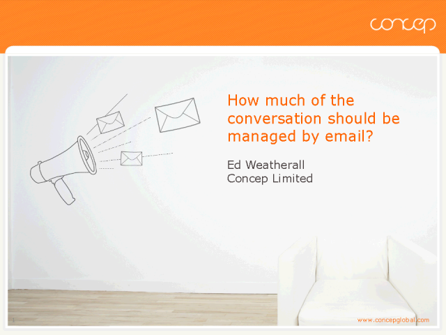 How much of the conversation should be managed by email?
