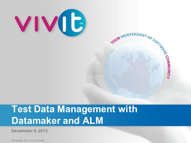 Test Data Management with Data Maker and ALM