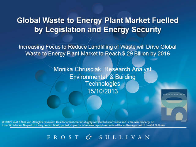 Global Waste-to-Energy Plant Market Fuelled by Legislation and Energy Security