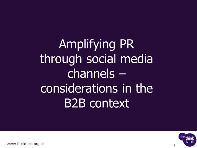 Amplifying PR through social media channels – considerations in the B2B context