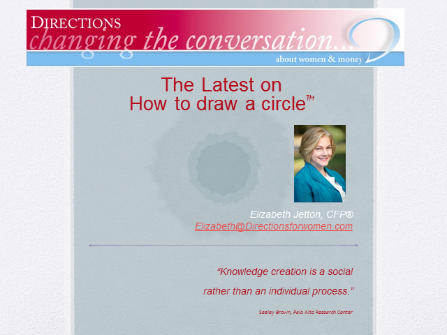 Changing the Conversation About Women & Money: Latest on How to Draw a Circle