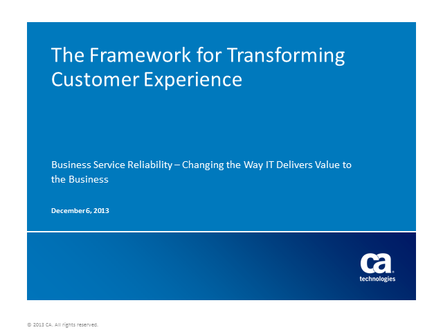 Framework for Transforming IT Customer Experience