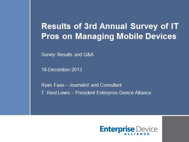 Analyze Results of 3rd Annual Survey of IT Pros on Managing Mobile Devices