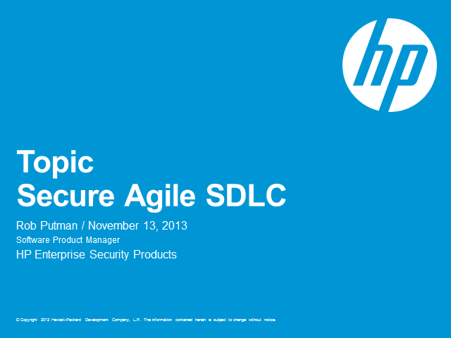 HP Fortify Secure Agile SDLC