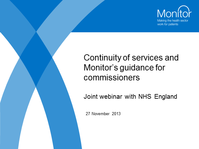 Guidance for commissioners: ensuring continuity of health care services