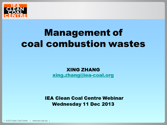 Management of coal combustion wastes