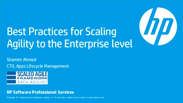 Best Practices for Scaling Agility to the Enterprise level