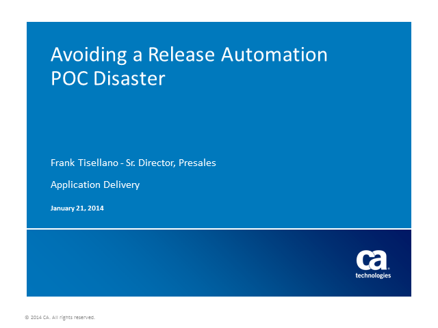 How to Avoid a Release Automation POC Disaster