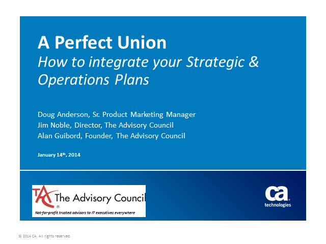 A Perfect Union: How to Integrate your Strategic & Operational Plans (1 PMI PDU)