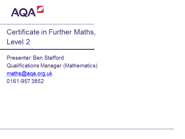 AQA Certificate in Further Maths webinar