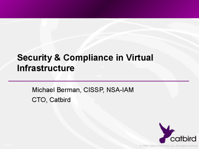 Security & Compliance in Virtual Infrastructure
