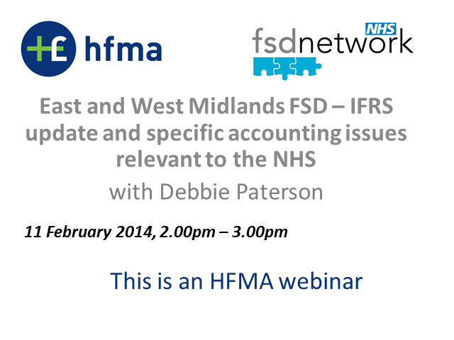 WM and SW FSD: IFRS update and specific accounting issues relevant to the NHS