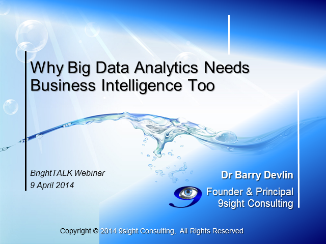 Why Big Data Analytics Needs Business Intelligence Too
