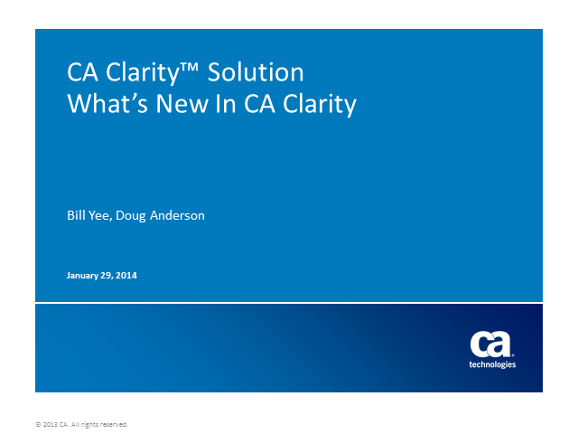 What's New In CA Clarity?
