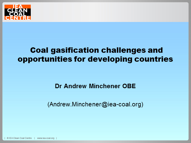 Challenges and opportunities for coal gasification in developing countries