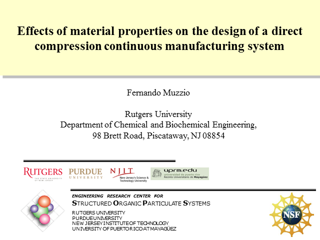 Addressing Material Properties in the Design of a Direct Compression Continuous