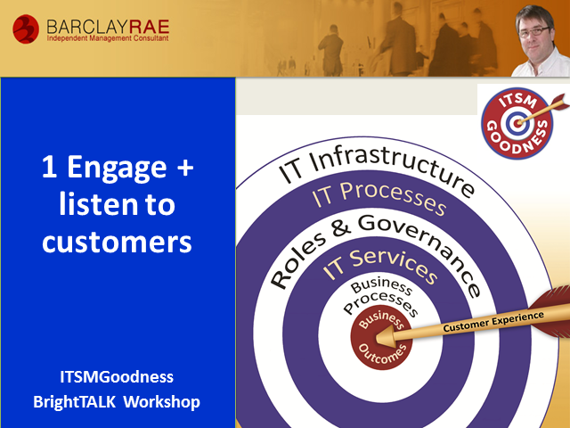 ITSM Goodness Webinar Series - Engage and Listen to Customers - Part 1 of 8