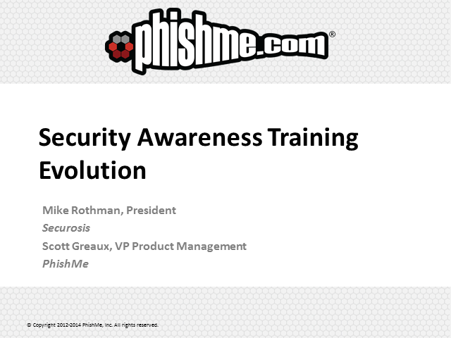Security Awareness Training Evolution
