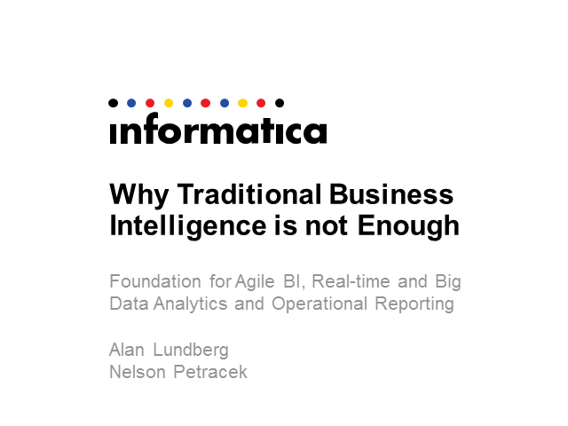Why Traditional Business Intelligence Alone is Not Enough