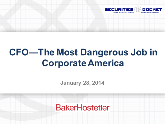 CFO Liability - the Toughest Job in Corporate America