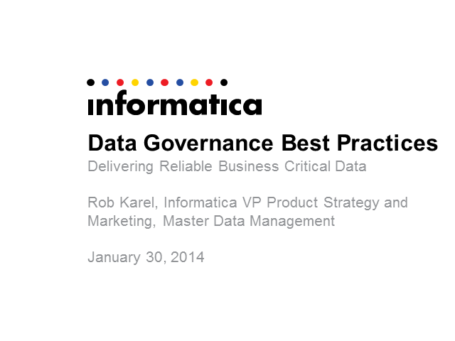 Informatica Public Sector Webinar: Data Governance Best Practices
