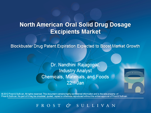 Generics to Impact North American Oral Solid Drug Dosage Excipients Market