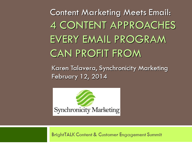 Four Content Approaches Every Email Program Can Profit From