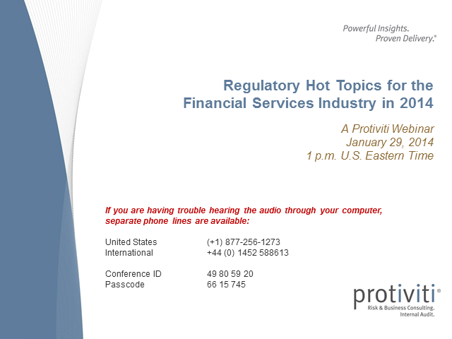 Regulatory Hot Topics for Financial Services in 2014