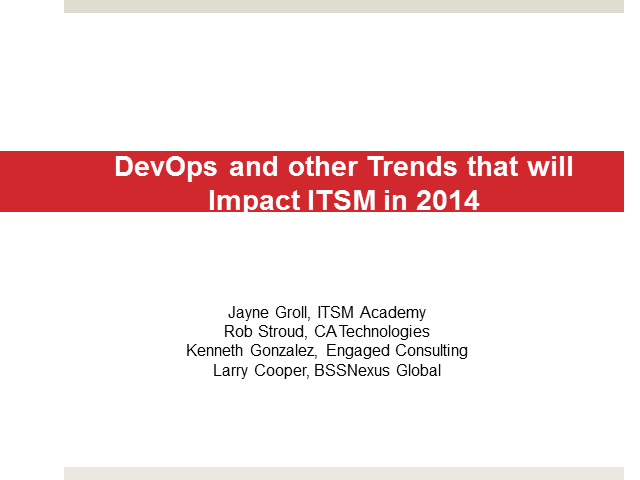 DevOps and other Trends that will Impact ITSM in 2014