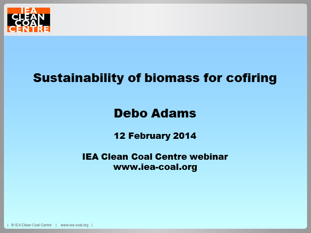 Sustainability of biomass for cofiring