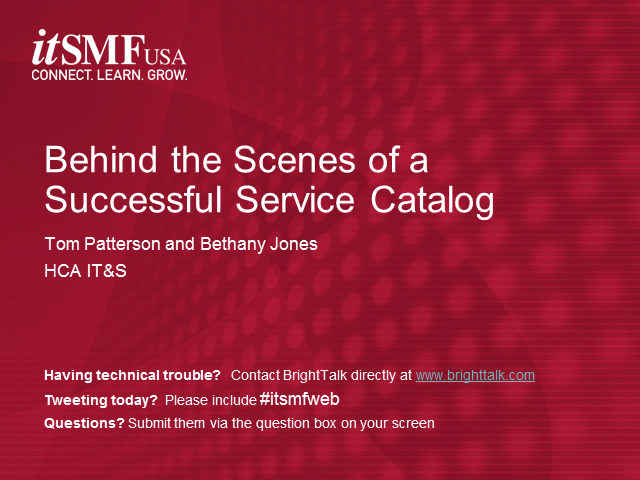 Behind the Scenes look at a Successful Service Catalog
