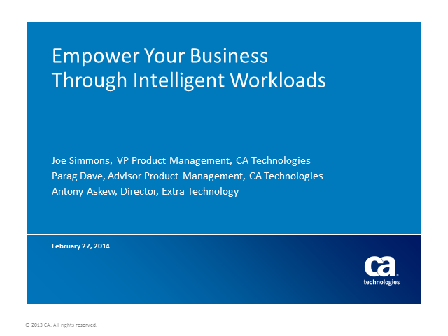 Empower Your Business through Intelligent Workloads