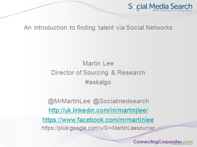 An Introduction to Finding Talent via Social Networks