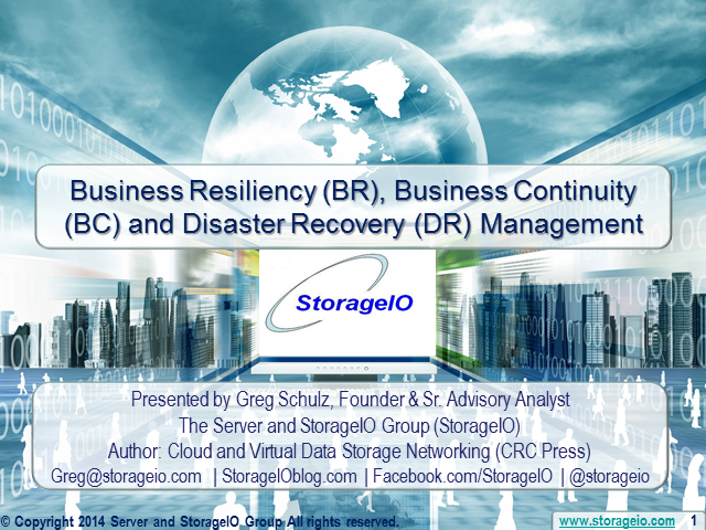 Business Resiliency, Business Continuity and Disaster Recovery Management