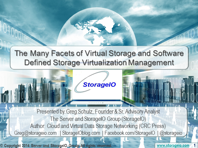 The Many Facets of Virtual Storage and Software Defined Storage Virtualization