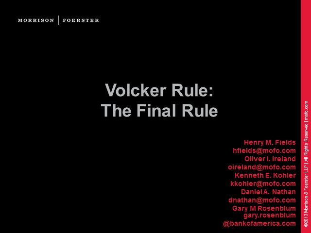 The Volcker Rule