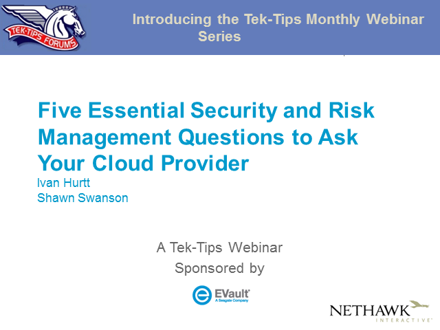 Five Essential Security and Risk Management Questions to Ask Your Cloud Provider