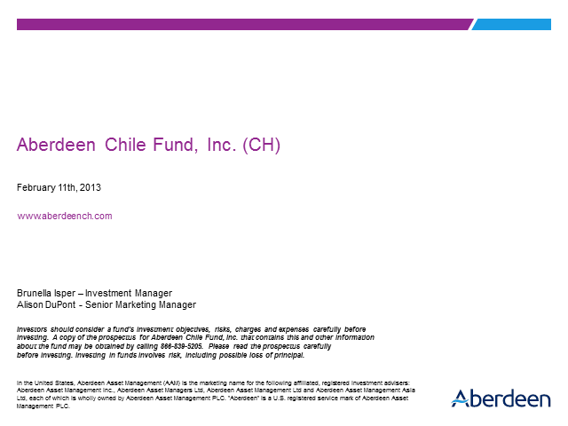 Aberdeen Chile Fund, Inc. (CH)