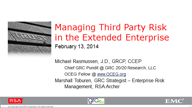 Managing Third Party Risk in the Extended Enterprise