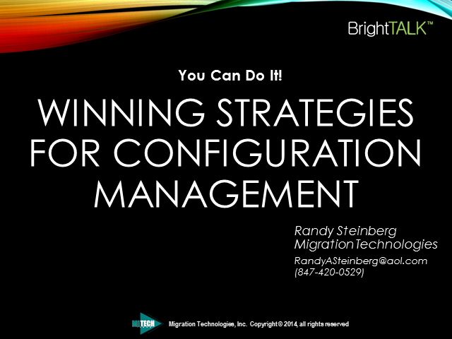 You Can Do It! - Winning Strategies For Configuration Management
