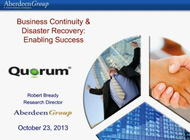 Business Continuity & Disaster Recovery: Enabling Success