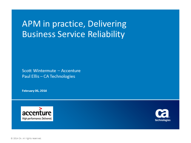 How Accenture Helps Its Customers Deliver Business Service Reliability